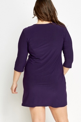 Violet Cropped Sleeve Mini Dress