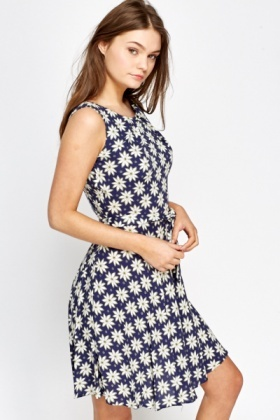 Blue Daisy Print Skater Dress
