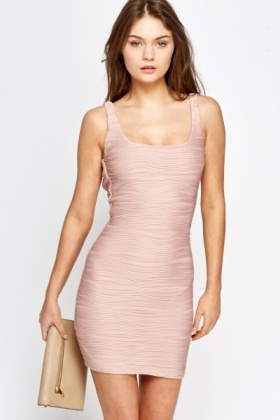 Dusty Pink Textured Bodycon Dress - Just £5