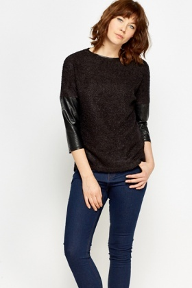 Faux Leather Insert Fluffy Jumper