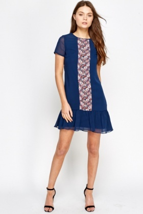 Floral Panel Flared Hem Dress