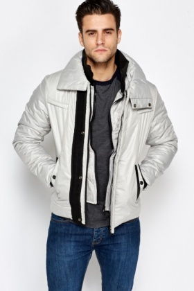 Padded Contrast Puffer Coat