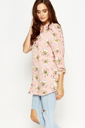 Pink Multi Floral Long Blouse