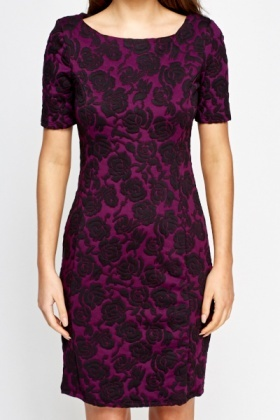Purple Rose Jacquard Bodycon Dress