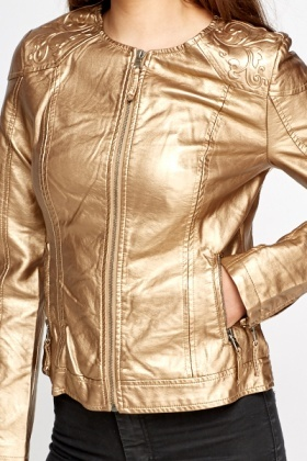Textured Bronze Round Neck Jacket