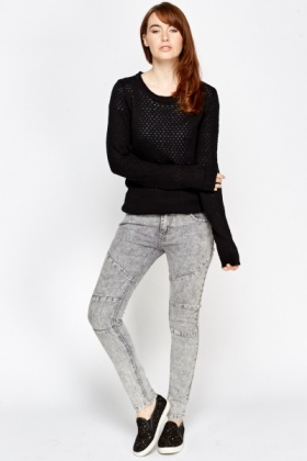 Contrast Straight Leg Jeans