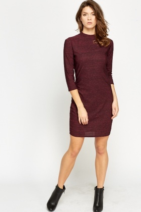 Cropped Sleeve High Neck Dress