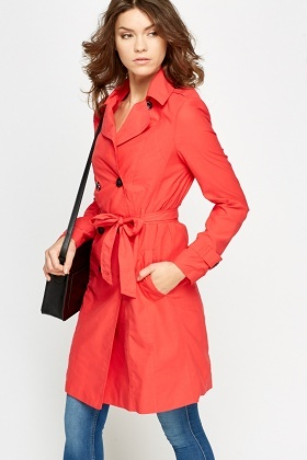 Double Breasted Red Trench Coat - Just £5
