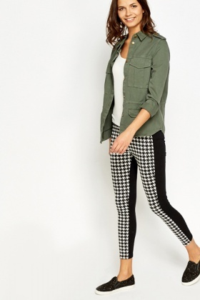 Houndstooth Panel Leggings