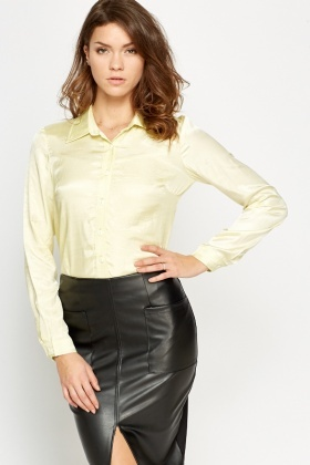 Light Yellow Silky Feel Shirt