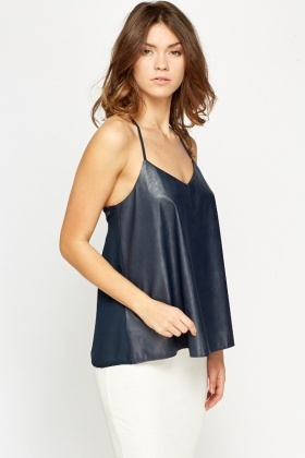 Navy Leather Look Front Cami Top