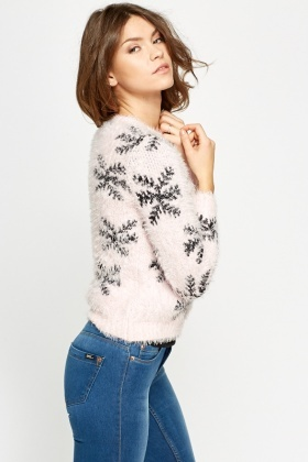 Snow Flake Eyelash Knit Jumper
