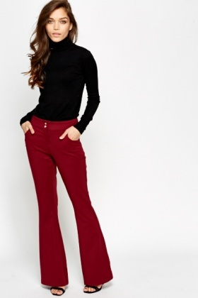 Wine Flared Leg Trousers