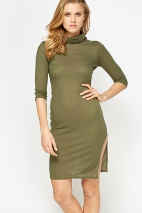 Olive Bodycon Roll Neck Dress