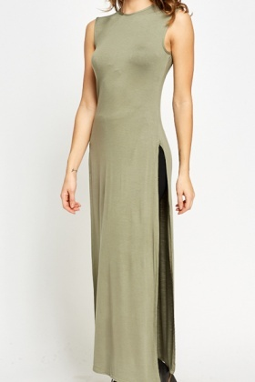 Sleeveless Olive Longline Top
