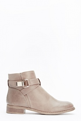 Buckle Side Grey Ankle Boots