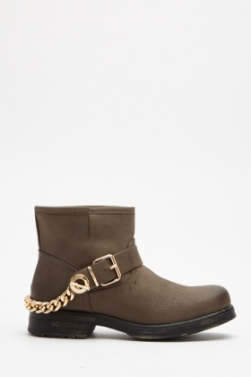 Chain Back Grey Ankle Boots