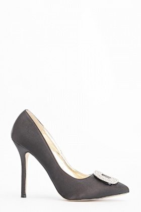 Encrusted Buckle Pointed Heels