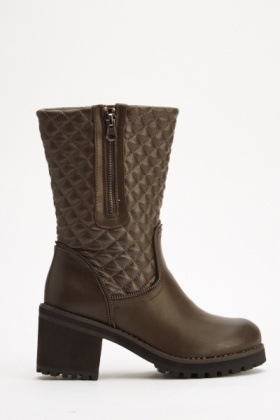 Faux Leather Quilted Boots