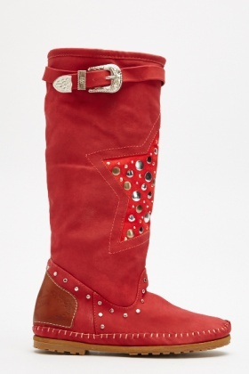 Studded Star Front Red Boots