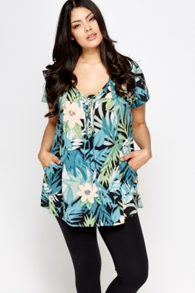 Blue Multi Floral Tunic