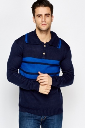 Colour Block Button Front Jumper