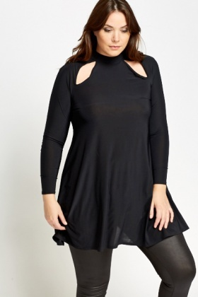 Cut Out Black Swing Dress