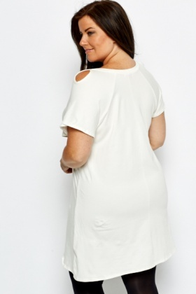 Cut Out Shoulder White Dress