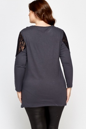 Lace Insert Long Top