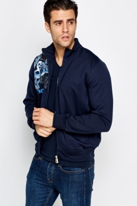 Navy Printed Zip Front Jacket
