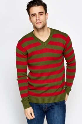 V-Neck Striped Contrast Jumper
