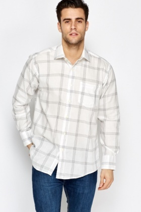 White Grid Check Shirt