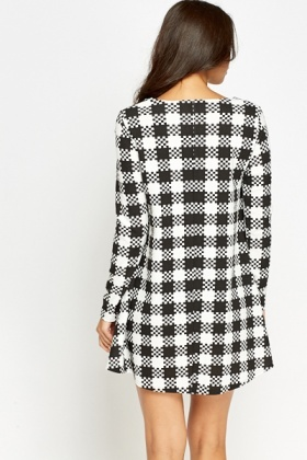 Black And White Print Swing Dress