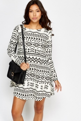 Black Geo Print Swing Dress
