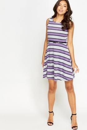 Jersey Striped Skater Dress