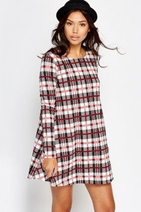 Red Check Grid Swing Dress