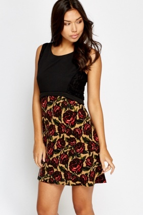 Rose Contrast Swing Dress