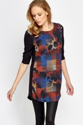 Black Multi Print Long Top