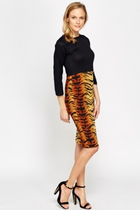 Block Tiger Print Midi Dress