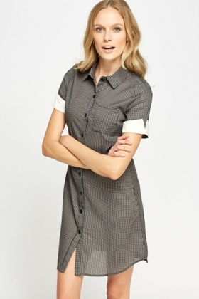 Contrast Sleeve Shirt Dress