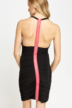 Cowl Neck Zip Back Dress