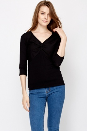 Twist Knot Front Black Top