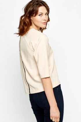 V-Neck Zip Back Top