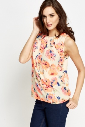 Beige Multi Floral Shell Top