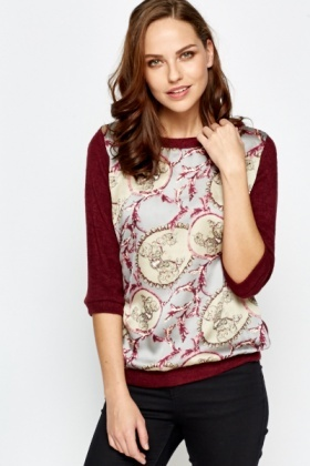 Contrast Ornate Print Top