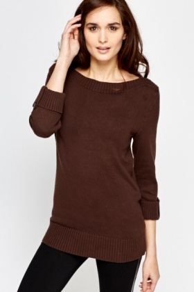 Cotton Blend Off Shoulder Jumper
