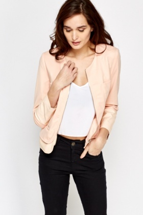 Faux Leather Insert Hem Jacket