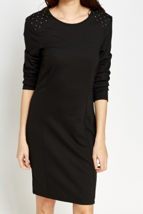 Studded Shoulder Black Dress