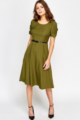 Belted Ruched Sleeve Swing Dress