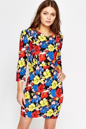Bold Floral Brush Dress